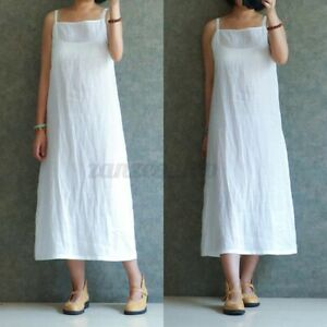 White XL Womens Straps Sleeve Dress Solid Casual Loose Ladies Vintage Dresses