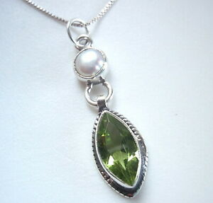 Cultured Pearl and Faceted Peridot 925 Sterling Silver Pendant