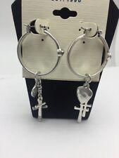 $35 Lucky Brand Silver Tone Rock & Roll Charm Hoop Earrings #D115