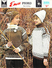 VINTAGE 1960'S KNITTING PATTERN FOR WOMEN NORDIC DESIGN JUMPERS W HATS
