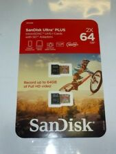 Sandisk Ultra micro SDXC Micro SD UHS-1 Memory Card 64GB 64G 2 Pack 64 GB NEW