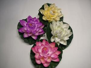 LARGE FLOATING WATER LOTUS ARTIFICIAL FLOWER on 17cm GREEN LILY PAD POND FEATURE