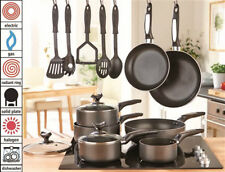 Mason Cash 12pc Sauce Pan Set Black Non Stick Cookware Frying Wok Lids