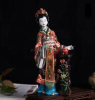 "11.2"" Chinese Handmade Porcelain Beautiful Woman Diao Chan Figurines Statues"