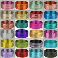 Indian Bollywood Jewelry Set of 12 Color Metal Plain Bangles Bracelet - 24 color