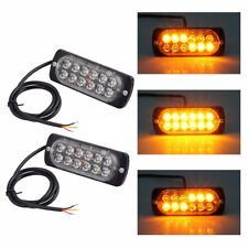 2pc Car Truck 12LED Amber Emergency Strobe Flash Light 18 Modes 3200K Waterproof