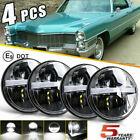 DOT 5.75 5-3/4 Round LED Headlights 4PC Halo Black For Cadillac Calais 1965-1974  for sale