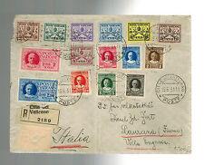 1931 Vatican Registered cover to Italy Multi Franking # 1-13 E1 E2