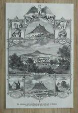 LM71) Holzstich Hohenstaufen 1871 Barbarossa Burg projekt Kaiserberg 16x24,5 cm