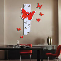 Butterfly Fly Large DIY Wall Clock 3D Mirror Surface Sticker Home Decor Pop