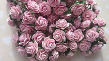 Pink Mulberry Paper Roses, 15mm, Shabby Chic, Wedding, Craft Embellishment