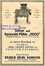Schrotmühle Hoco Reklame 1920 Helms Hannover Mühle Mehl Müller Getreide