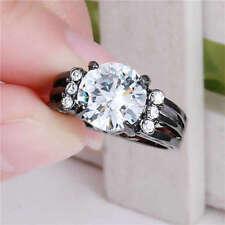 White Sapphire Ring Black Rhodium Plated Wedding Engagement Jewelry Size 9