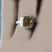 18k Gold GIA Certified Fancy Yellow 3.75 CT Cushion Cut Diamond Engagement Ring