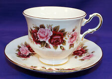 QUEEN ANNE BONE CHINA COFFEE / TEA CUP AND SAUCER SET RED / PINK ROSES ENGLAND