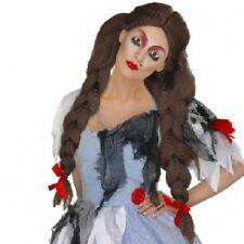Costume da Donna per Halloween Deadly Dorothy Zombie Parrucca Trecce Marrone Da