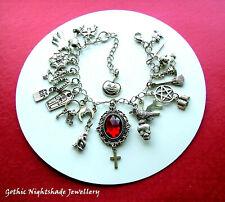 Witch Charm Bracelet, 25 Charms, Gothic, Pagan, Wicca, Handmade