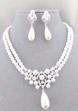 White Pearl Crystal Rhinestone Silver Necklace Set Fashion Jewelry NEW Pretty!