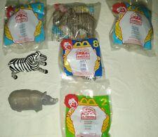 McDonald's Hmt 1998 Disney's Animal Kingdom 3 Elephants, 2 Zebras, Rhino,Toucan