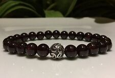 Mens GARNET bracelet Bali 925 Silver central bead & Garnet Gemstone beads