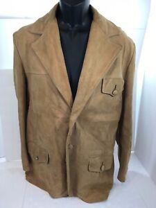 Vtg REED SPORTSWEAR Mens Suede Leather Jacket Western Camel Blazer Medium Large