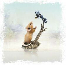More details for richard cooper studio mice bronze resin mouse with bluebell & bee ornament 255br