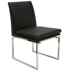 """19.3"""" W Set of 2 Dining Chair Square Stainless Steel Frame Faux Leather Modern"""