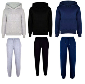 Boys Plain Hooded Top Jogging Bottom Tracksuit School Jog Suit Size 1-13