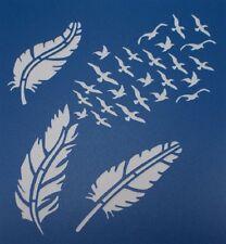 Scrapbooking - STENCILS TEMPLATES MASKS SHEET - Feather and Birds Stencil
