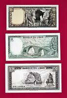 Lebanon UNC Banknotes: 1 Livre 1980 (P61), 5 Livres (P62), 10 Livres 1986 (P63)
