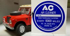 Land Rover Series 1 2 2a AC Vintage Breather Cap Label Decal White on Blue
