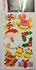 Sheet of 3D Foam Christmas Stickers 10 stickers with Embellishments NEW