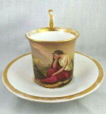 Antique KPM Porcelain Gilt Soldier Mourning Cup & Saucer Set