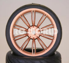 RC 1/10 Street SEMI SLICK WHEELS TIRES Package 3MM Offset GOLD  SPOKE TOURING