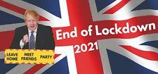 End of Lockdown Party Banner Celebration Decorations Boris GB Union Jack 3 Pack