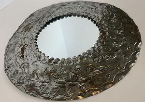 """Espejos Redondos Round Silver Metal Mirror 11.5"""" Mirror Measure 5.5"""" Boho Rustic"""