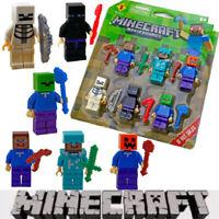 6Pcs Minecraft Blocks Figures Fit Building Characters Lego World Mini My Series