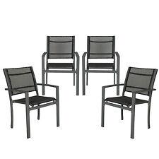 Lot de 4 chaises de jardin camping terrasse balcon salon de jardin gris foncé