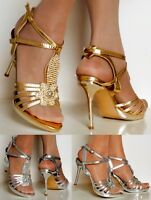 NEW Ladies Party Sparkly Diamante Ankle Straps High Heel Shoes Sandals Size