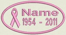 Oval Breast Cancer Awareness  Patch Tag, Badge - In Memory - Iron On or Sew On