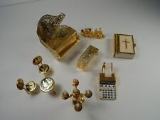 Vintage Brass Metal Dollhouse Furniture. Piano, Candelabra, Bible, Chairs etc..