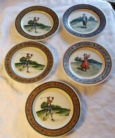 "CBK Ltd Set of Five Vintage Ceramic Hand Painted Golf Plates 8"" Diameter Taiwan"