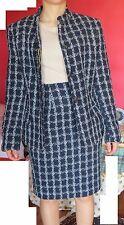 vestito donna ISAIA tailleur cotone e lana blu a quadri taglia 42