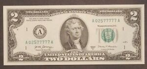 2017 A 2$ Dollar note with Fancy Serial # A 02577777 A Lucky 7's