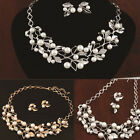 Pearl Lady Set Necklace Women Earrings Silver Plated Bridal Gold Crystal Jewelry
