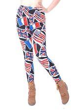 Women Small Fit Red White Blue Patriotic Flag Patterns Sketch Design Legging