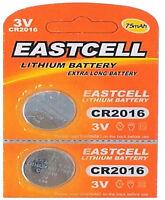 2 x CR2016 3V Lithium Knopfzelle 75 mAh ( 1 Blistercard a 2 Batterien ) EASTCELL