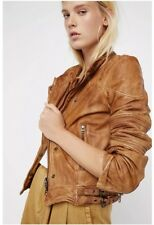 Free People $450 Fitted And Rugged Leather Jacket Redwood XS