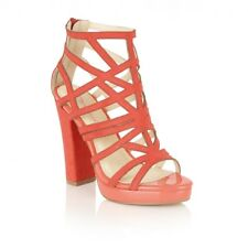 7d6ddffa3a5c NEW Dolcis Petra Cage Pink Block High Heel Caged Shoes Coral Size UK 7   40