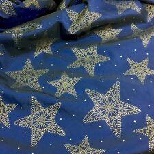 Navidad Royal Blue & Gold Star Tafetán 58 pulgadas de ancho por metro Hermoso